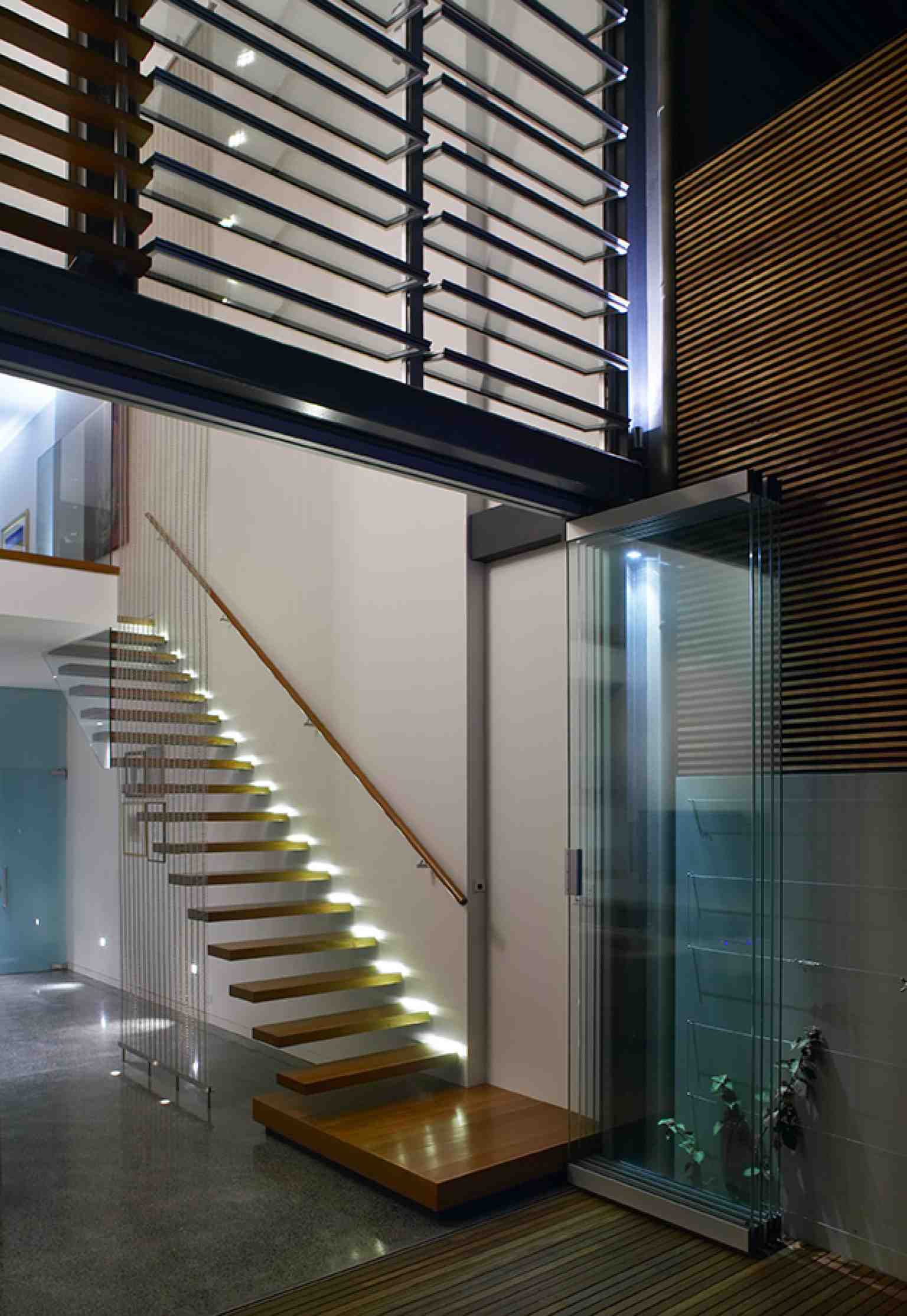 Brushbox suspended staircase